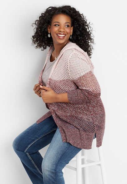 plus size spacedye open stitch hooded cardigan