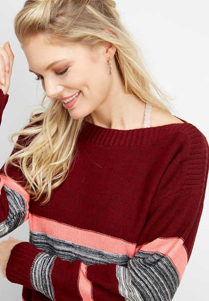 boat neck stripe pullover