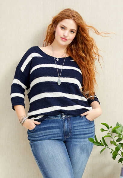 plus size stripe bar back tunic sweater