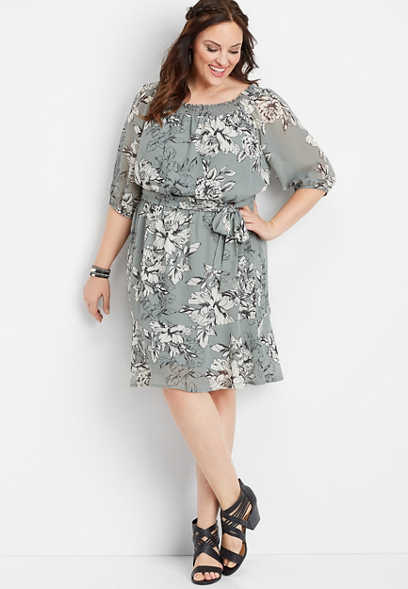 plus size off the shoulder floral tie front dress