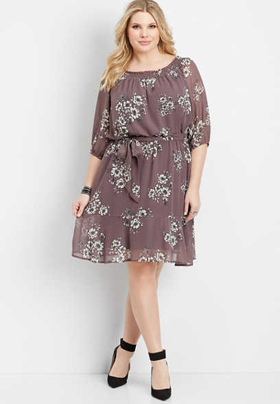 plus size off the shoulder floral dress