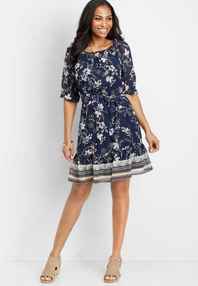 off the shoulder floral patterned dress