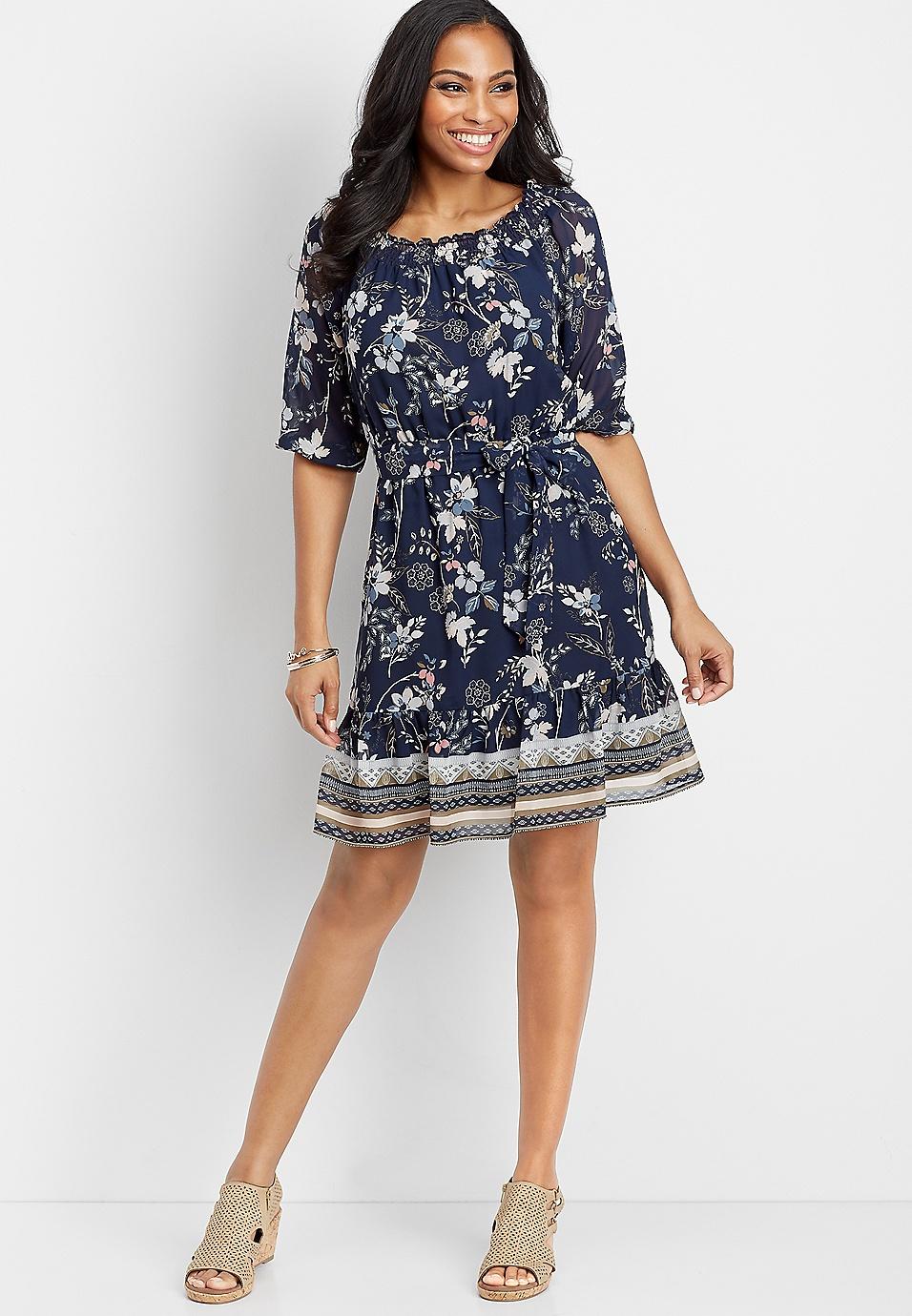 31fb1e1f6c5d4 off the shoulder floral patterned dress | maurices