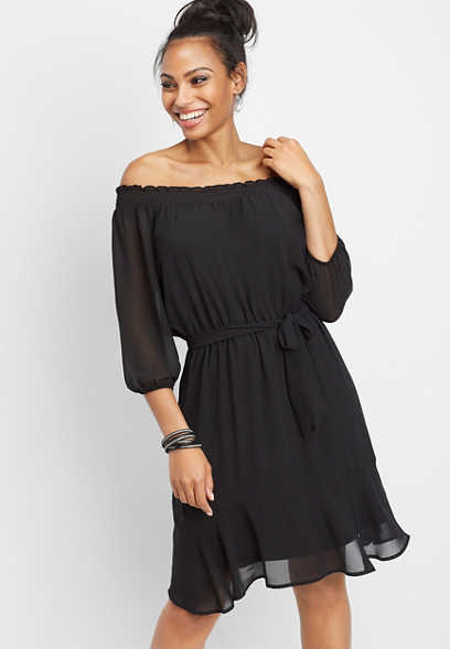 off the shoulder tie front dress