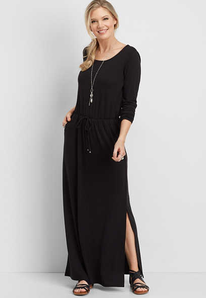 long sleeve black knit maxi dress