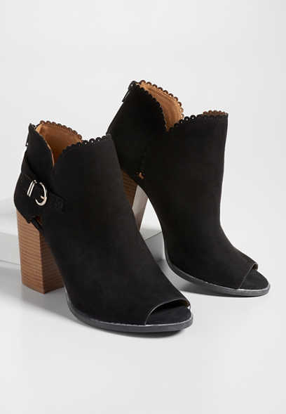 Taryn open toe scallop trim bootie