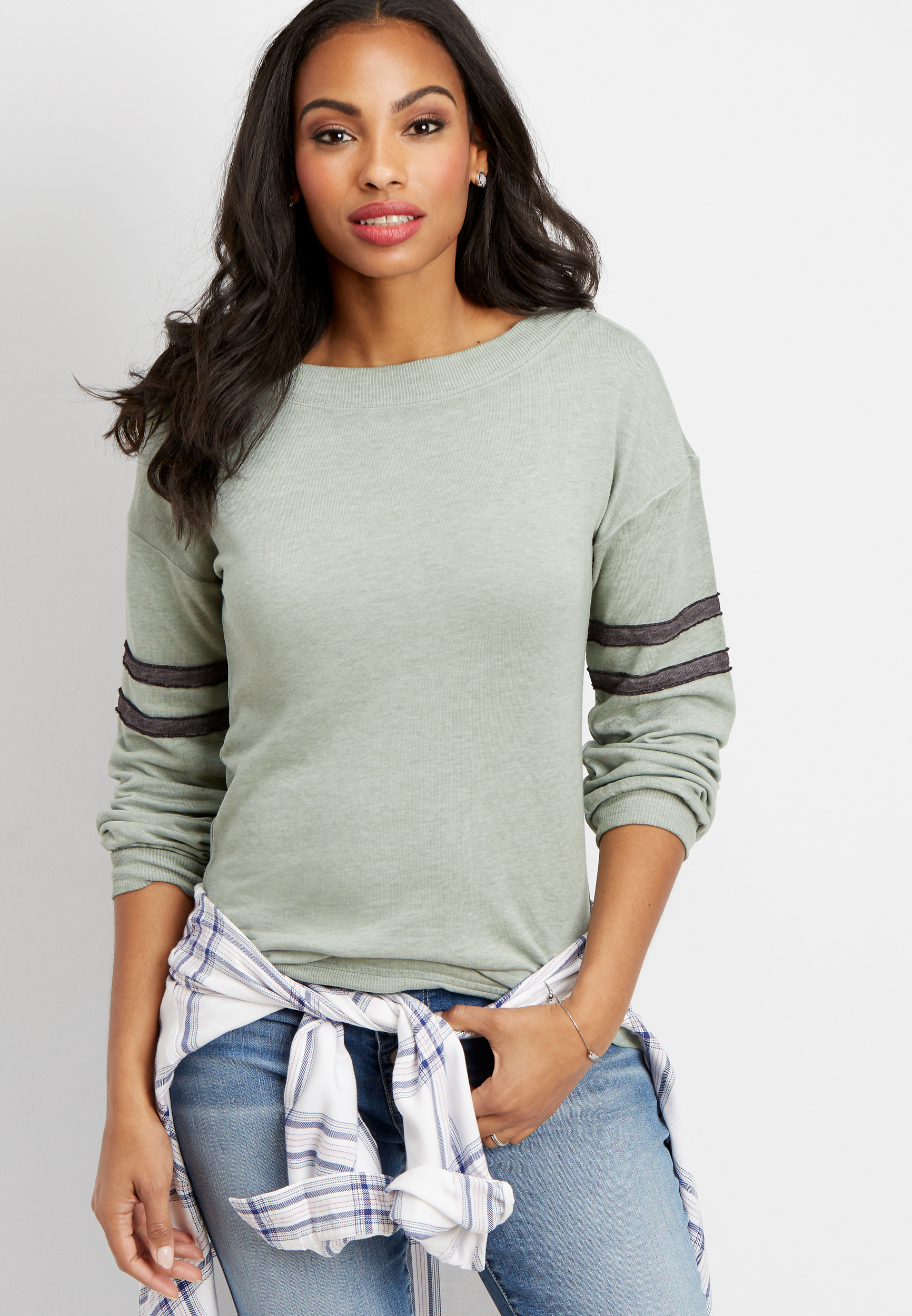 Marilyn Neck Puff Sleeve Football Pullover by Maurices