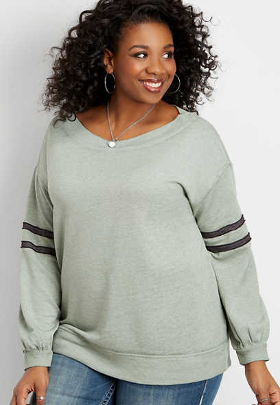 plus size marilyn neck puff sleeve football pullover