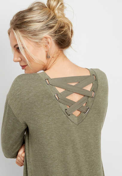 lace up back tunic pullover