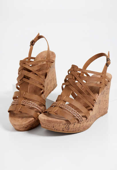 Eva multi strap cork wedge