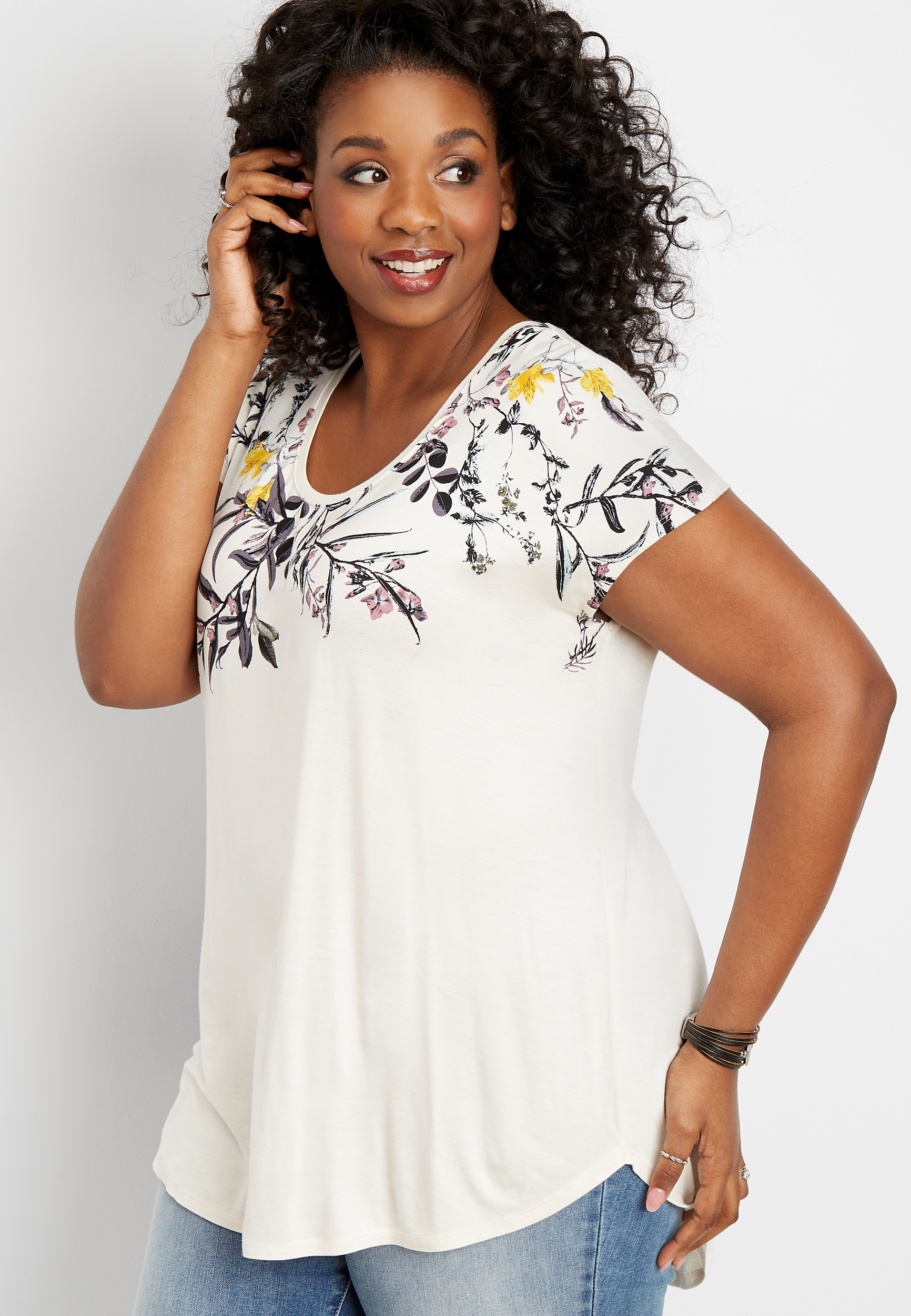 Plus Size 24/7 Short Sleeve Floral Dolman Tee by Maurices