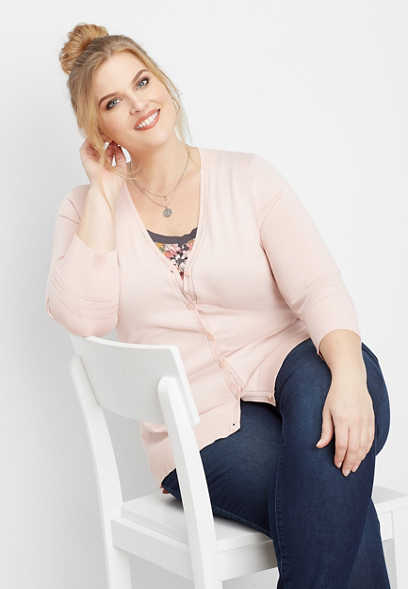 plus size classic button front cardigan