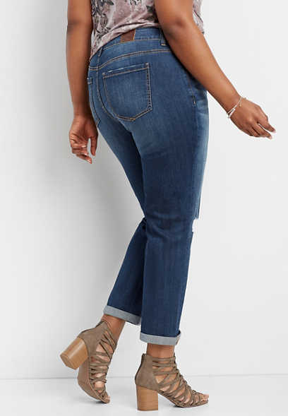 plus size DenimFlex™ dark wash destructed knee boyfriend jean