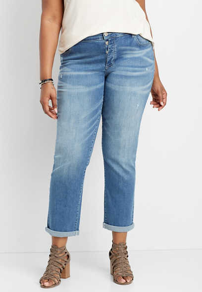 plus size DenimFlex™ exposed button fly boyfriend jean