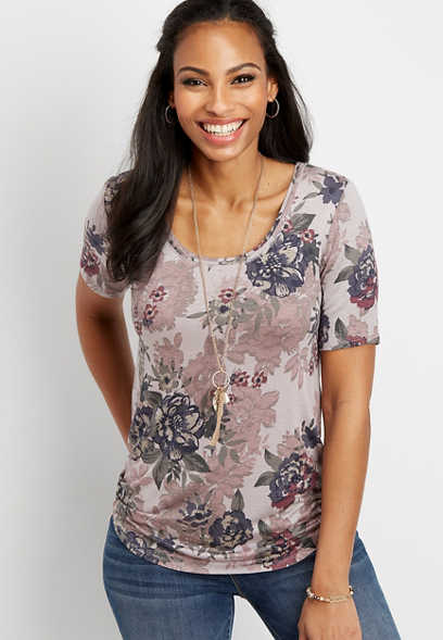24/7 floral scoop neck tee