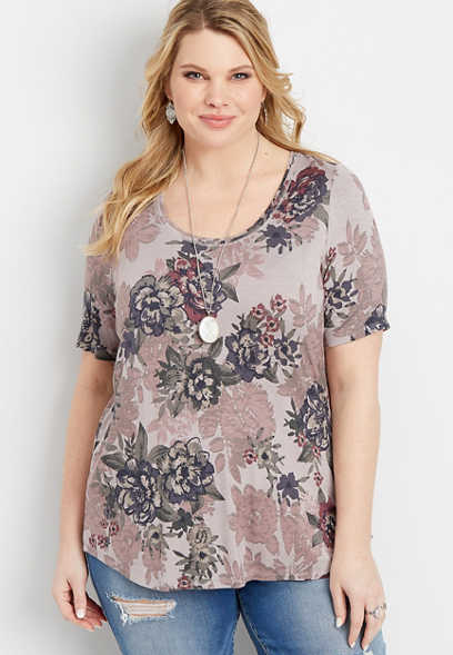 8aa347b434bee plus size 24 7 floral scoop neck tee