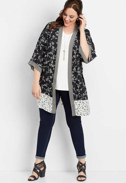 plus size black and white mix print kimono