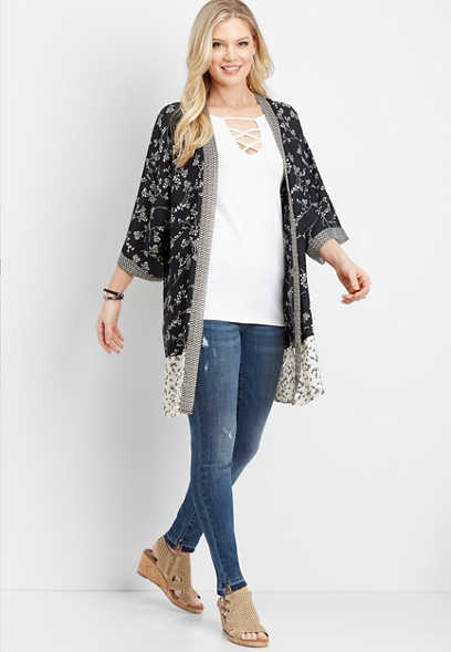 black and white mix print kimono
