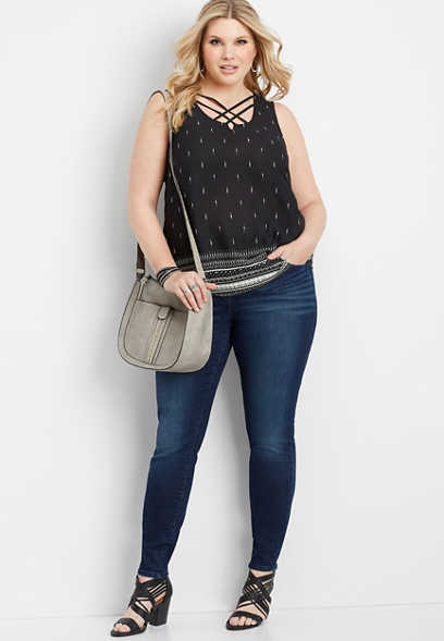 plus size geo print lattice neck tank