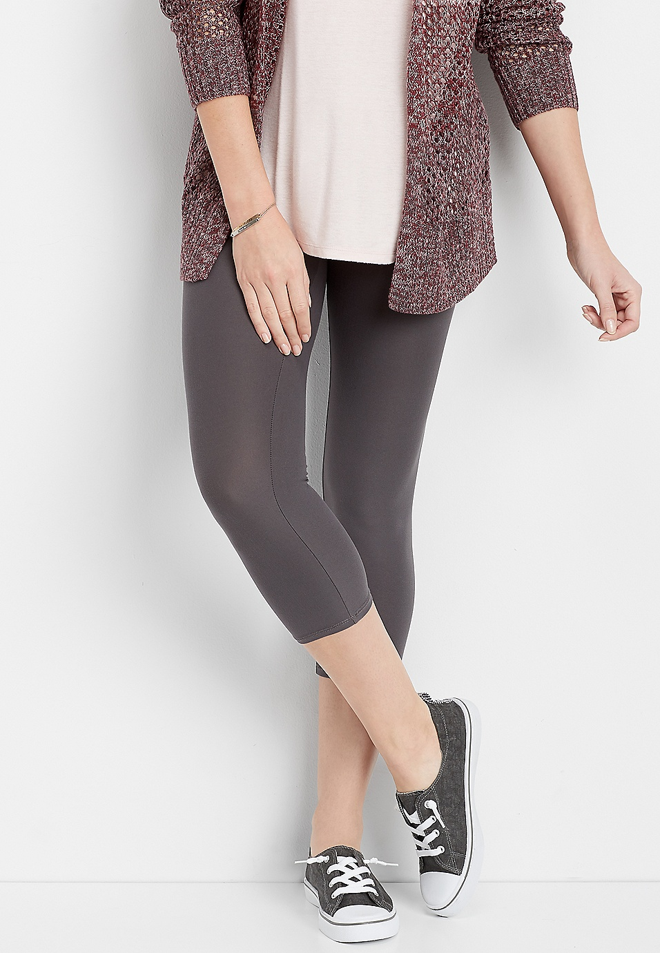 d25a11ee5fa30 gray ultra soft crop legging | maurices