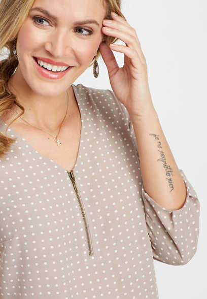 dot print zip front tunic blouse