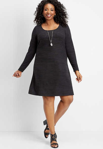 plus size scoop neck crocheted back dress