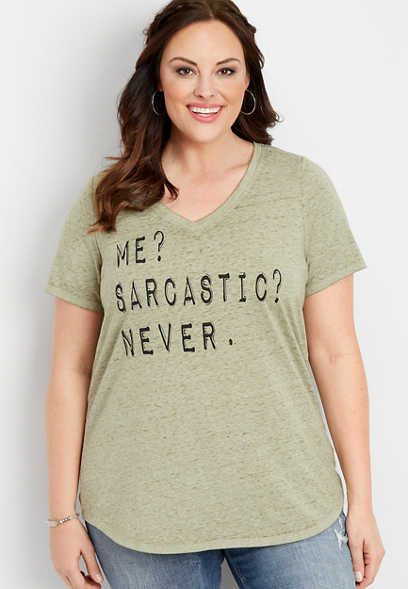 plus size me sarcastic never graphic tee