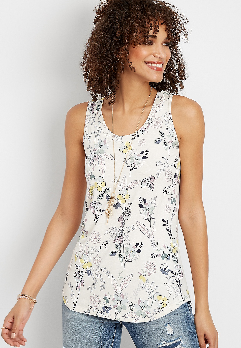 2c63d182b7 24/7 floral scoop neck tank | maurices