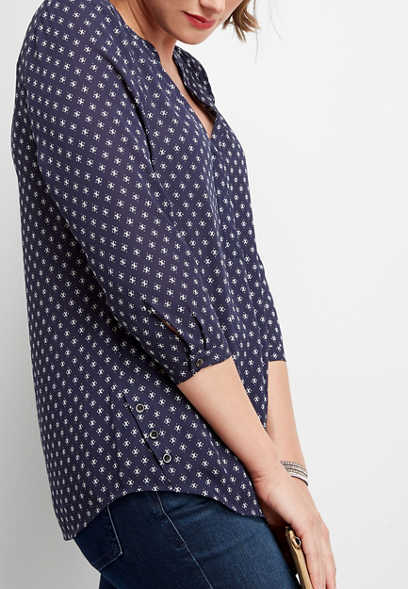 boho dot button side blouse