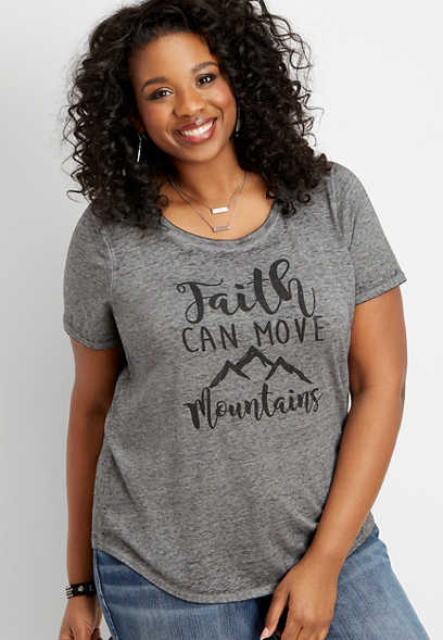 plus size faith can move mountains graphic tee