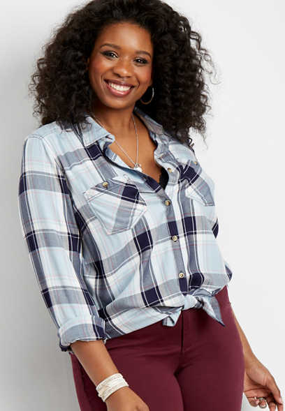 plus size plaid double pocket round hem button down shirt