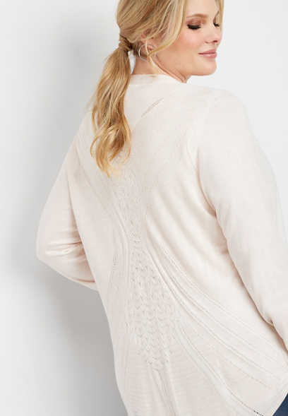 plus size long sleeve pointelle back cardigan