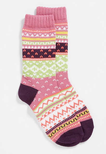 knit fairisle crew socks