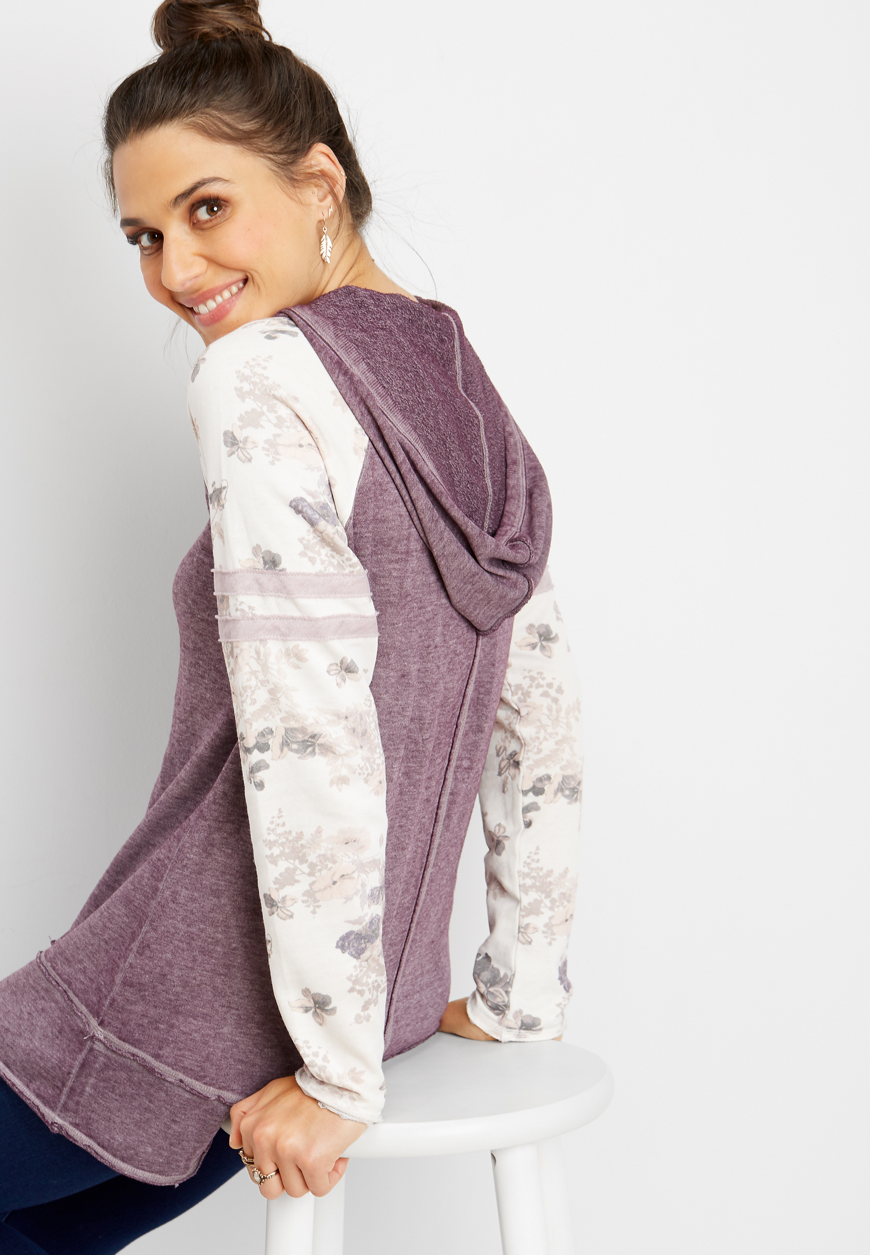 Floral Sleeve Hooded Pullover by Maurices