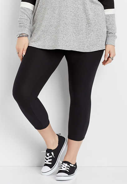 plus size black ultra high rise soft crop legging