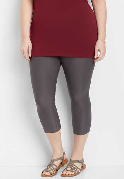 plus size gray ultra soft crop legging