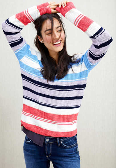 stripe double v-neck pullover