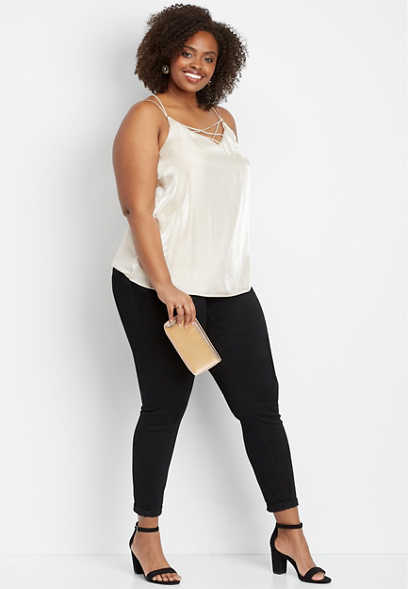 plus size strappy satin front tank