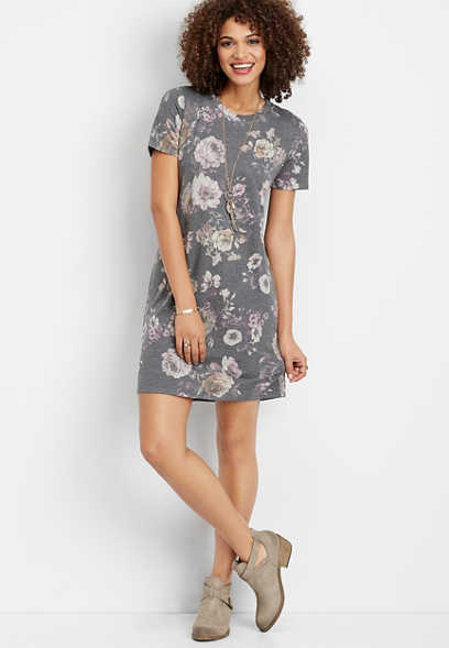 faded floral t-shirt dress