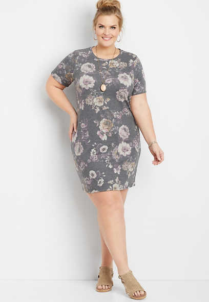plus size faded floral t-shirt dress