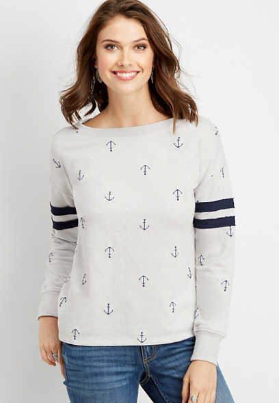 anchor print basic football sweatshirt