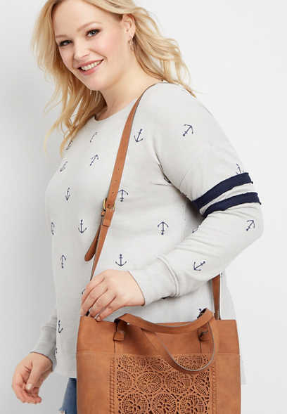 plus size anchor print basic football sweatshirt