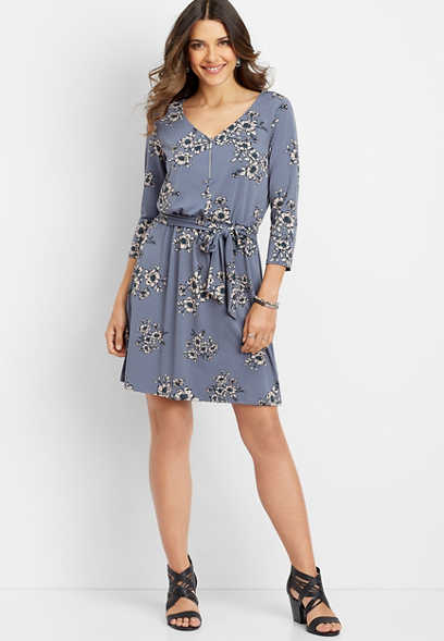 floral zipper v-neck dress