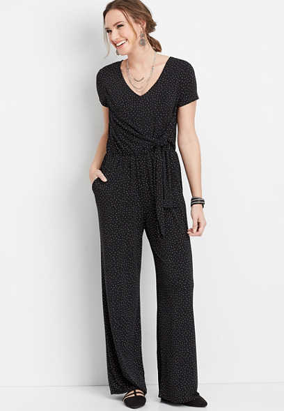 triangle print tie front jumpsuit