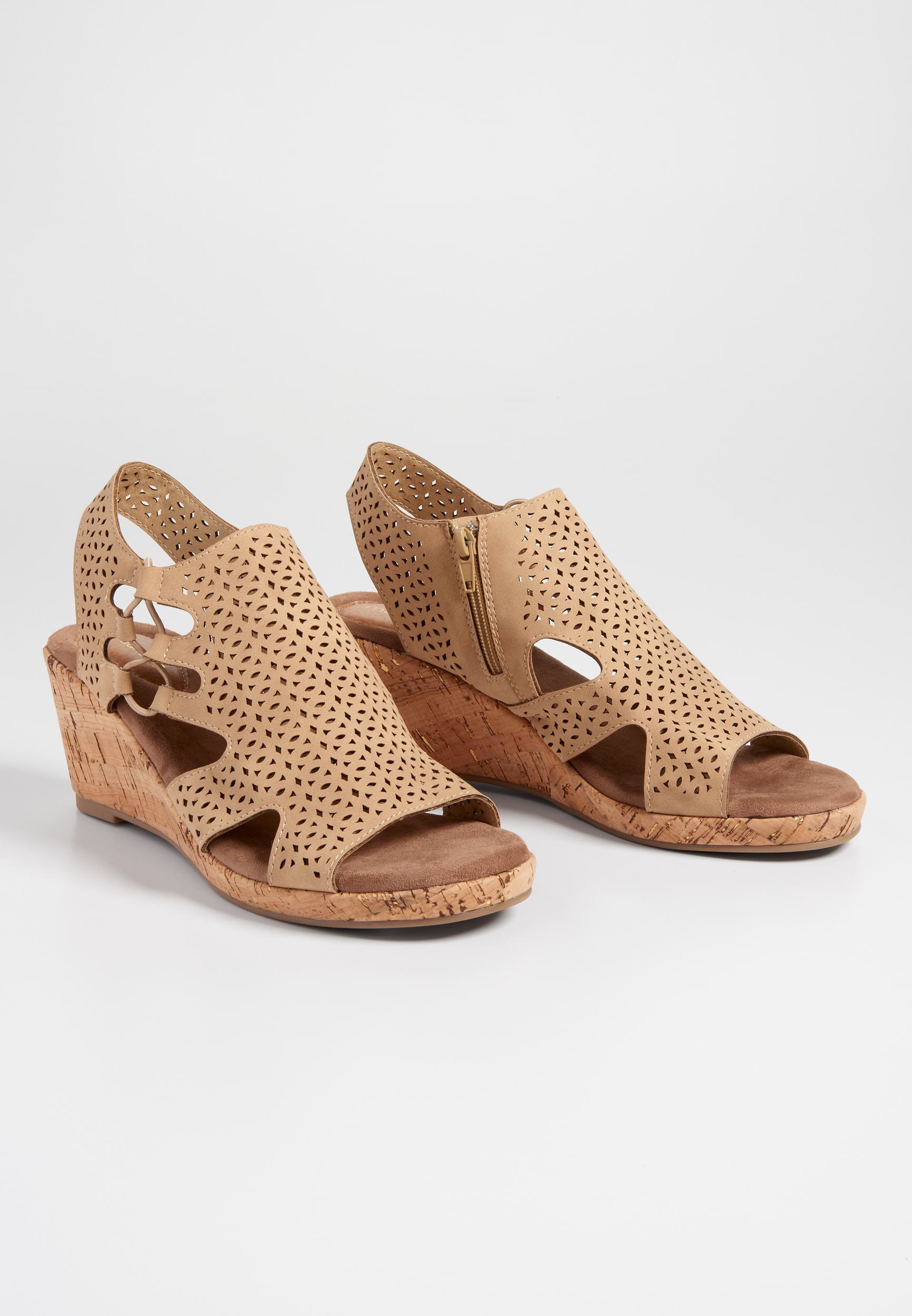 Evelyn Laser Cut Cork Wedge by Maurices