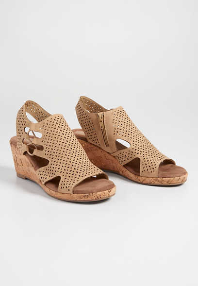 Evelyn laser cut cork wedge