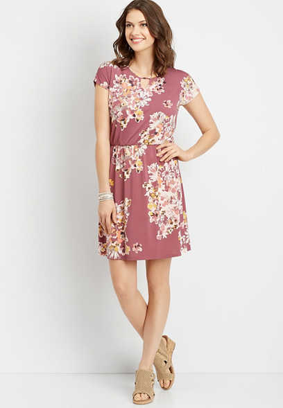 floral lattice back dress