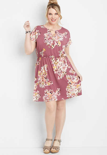 plus size floral lattice back dress