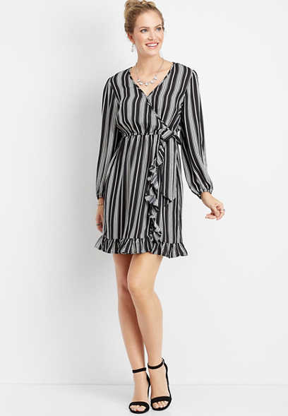 black and white stripe wrap front ruffle dress