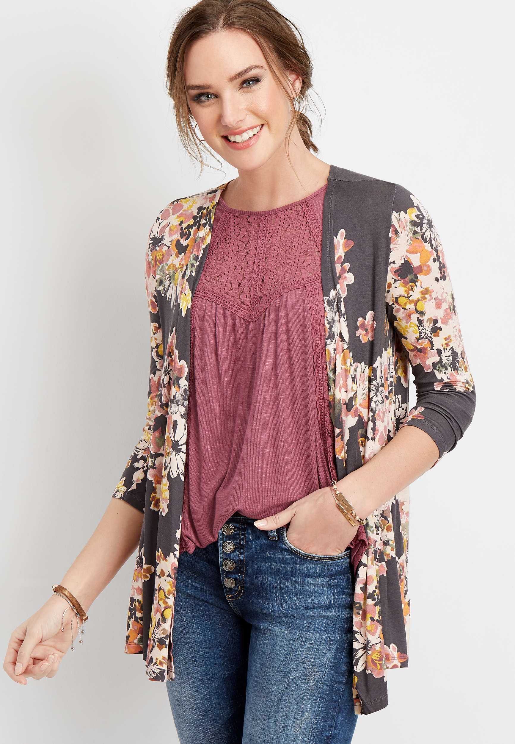 Crochet Back Floral Cardigan by Maurices